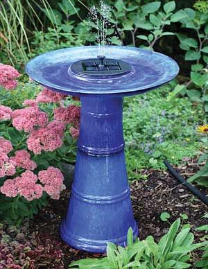 Bird Bath Lawn Ornament Ceramic Birdbaths Deep Blue Glazed Ceramic Birdbath W Solar Fountain Bird Bath Lawn Ornament Solar Fountain