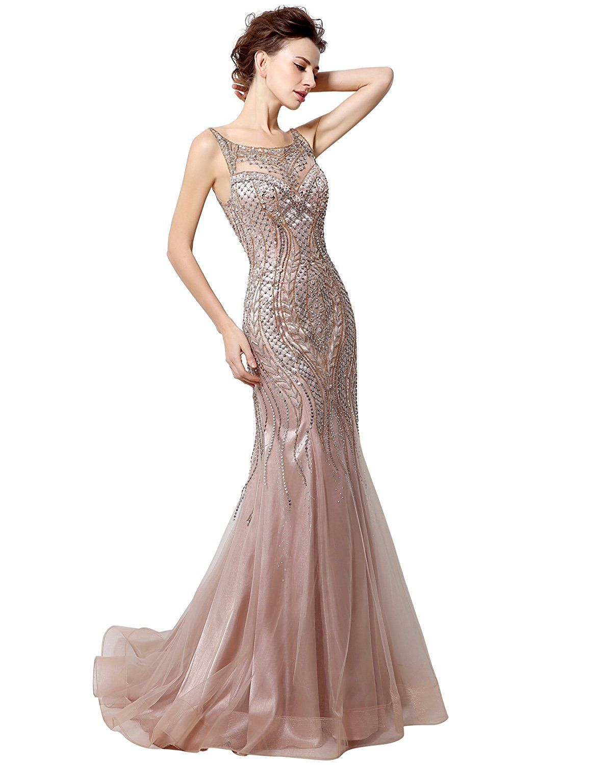 Belle house womenus long formal dresses with beads luxury prom ball