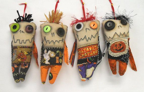 Set of 4 Mini Monster Voodoo Zombie Doll by FromGramsHouse, $38.00