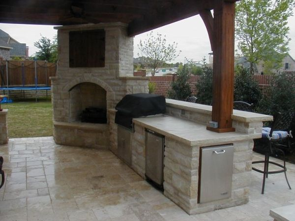 Outdoor Fireplace With Covered Tv Connects To Outdoor Kitchen Love The Design And Stonework By Kar Outdoor Fireplace Designs Patio Fireplace Outdoor Kitchen