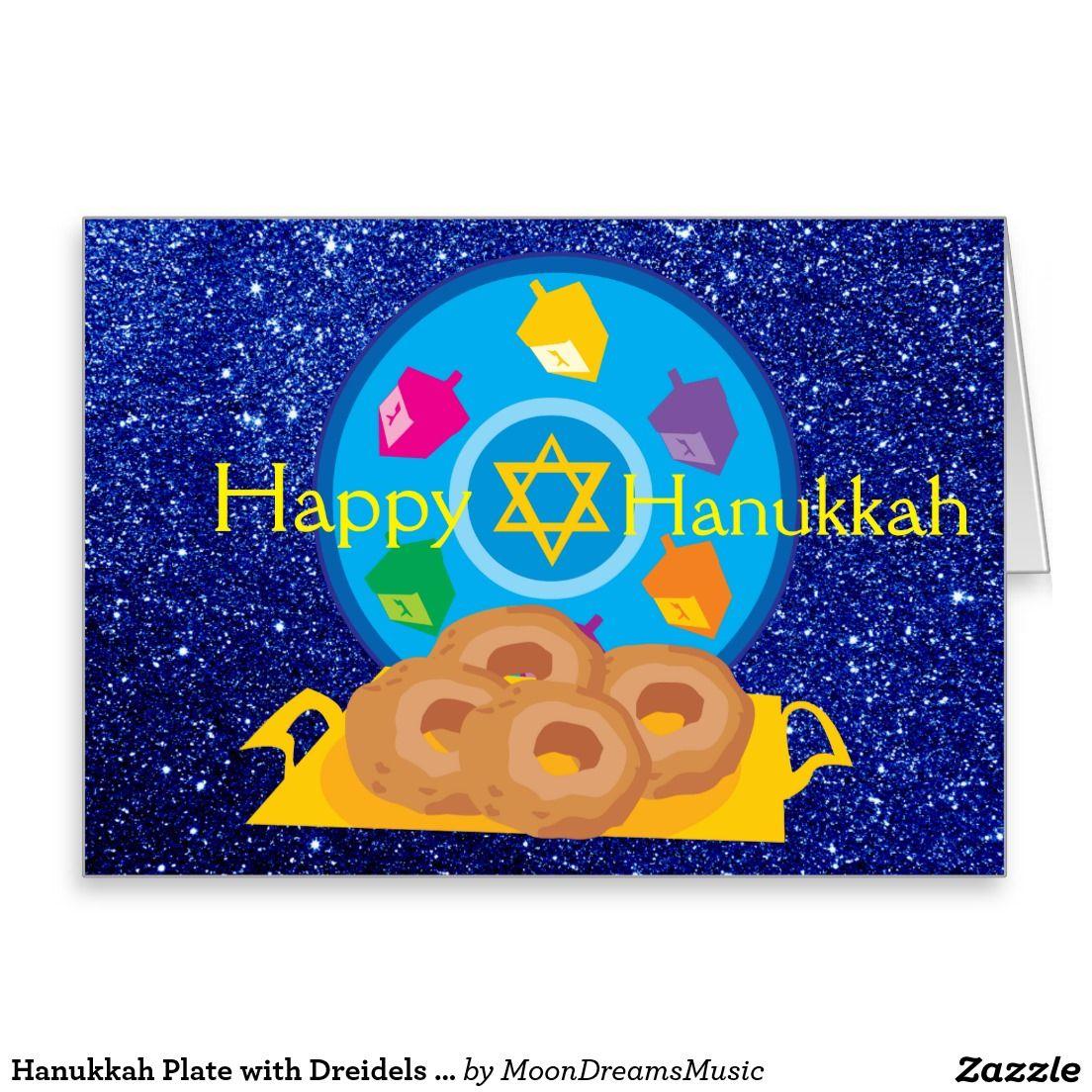 #HanukkahPlate with #Dreidels #BlueFauxGlitter #BlankNoteCard by #MoonDreamsMusic #HanukkahNotecard