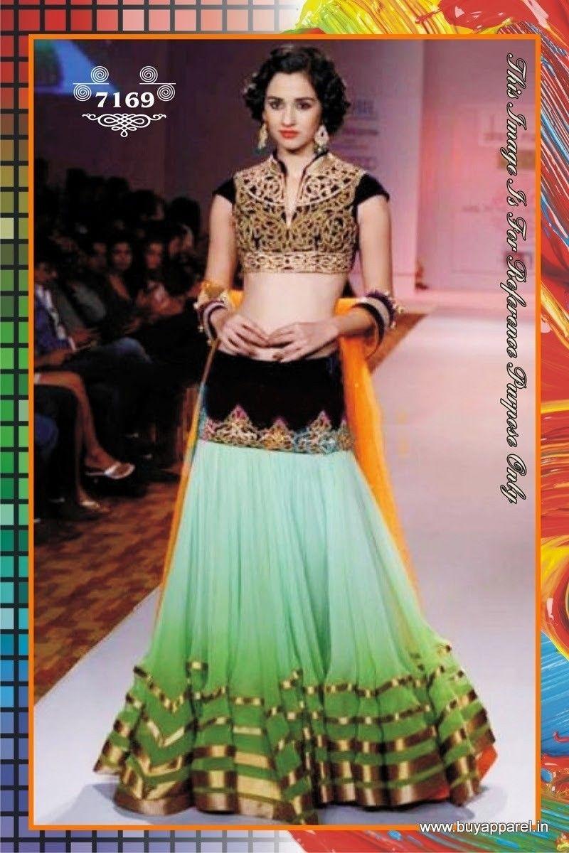 5da6058c15 Indian Designer Bollywood Ethnic Fancy Party Wear Shaded Georgette Semi-Stitched  lehenga