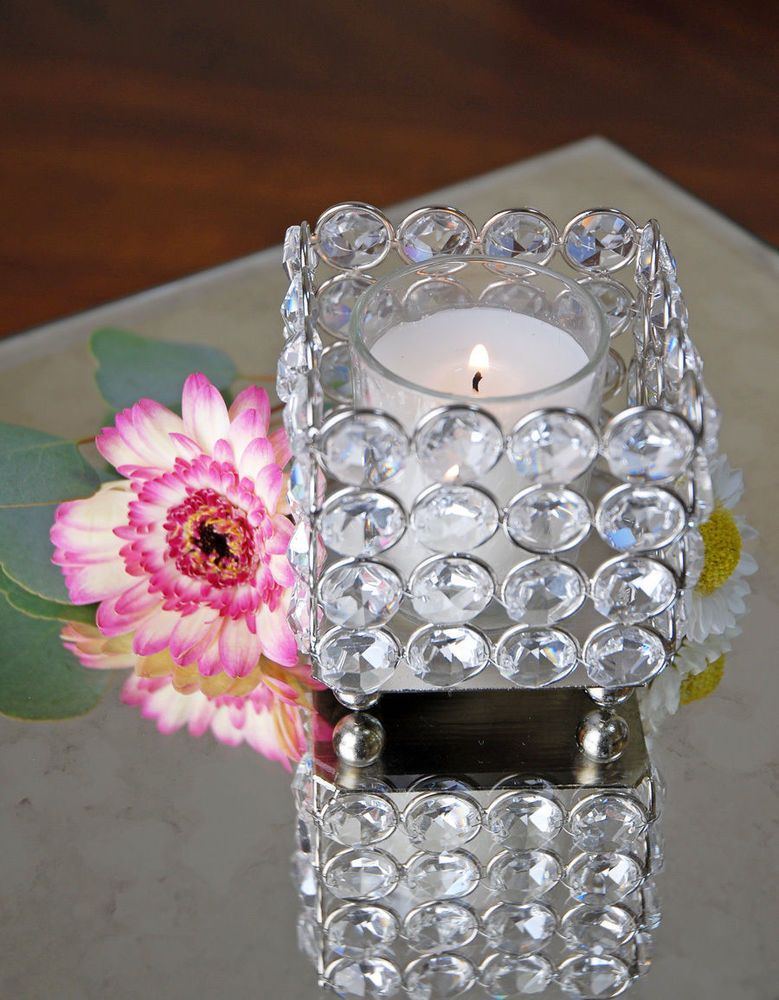 Glass Crystal Votive Tealight Candle Holders Wedding Cente