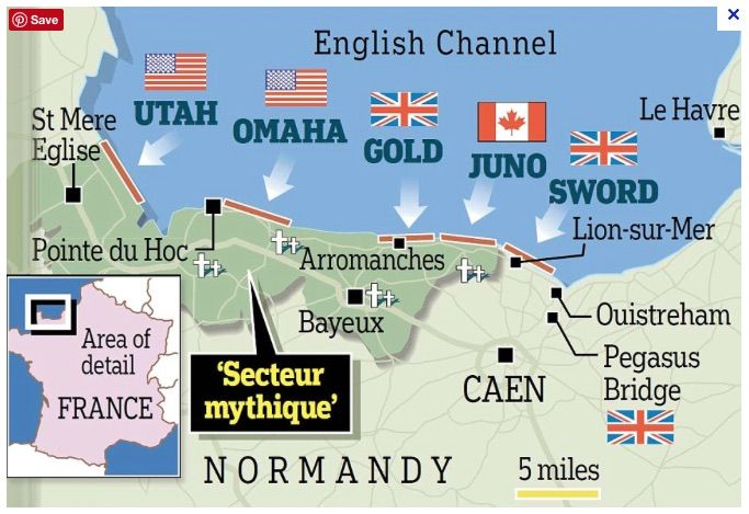 Map Of The D Day Landings In France Normandy Beach