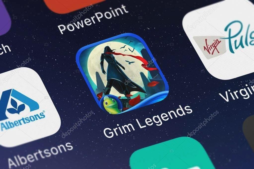 United Kingdom September 2018 Icon Mobile App Grim Legends  Stock London United Kingdom September 2018 Icon Mobile App Grim Legends  Stock  Add Initials  Hang monogrammed...