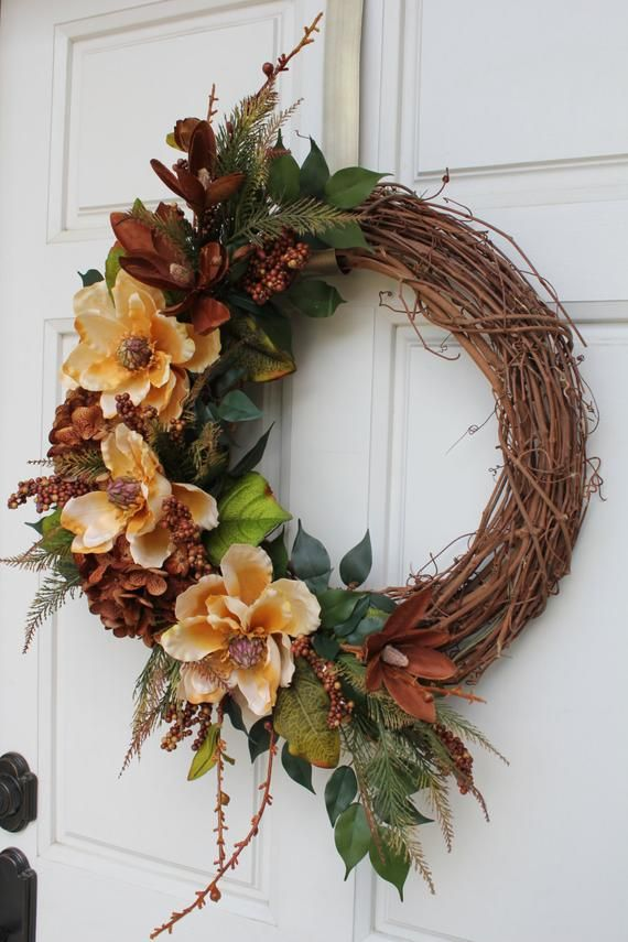 Photo of Gold Brown Magnolia Hydrangea Vintage Grapevine Wreath