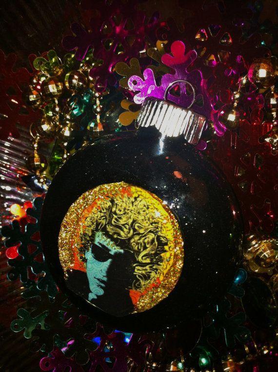 bob dylan glass glitte christmas ornament photo bob dylan glass glitte christmas ornament close up view