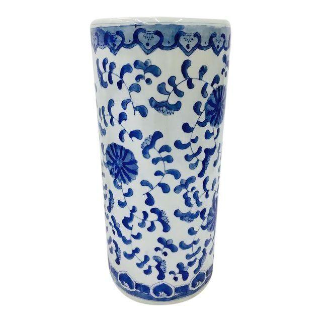 Vintage Blue White Asian Style Ceramic Umbrella Stand Jellystone