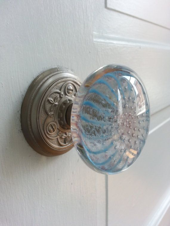 Gentil Light Blue Glass Door Knob Coastal Series By By NewMorningGlass, $60.00