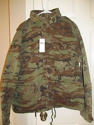 NEW RALPH LAUREN DENIM AND SUPPLY CAMO CAMOUFLAGE FLAG MILITARY JACKET XL