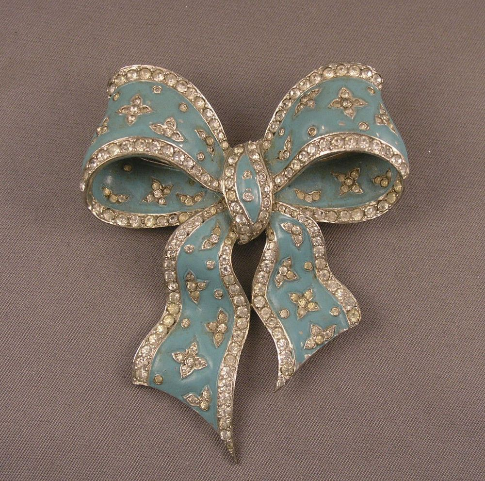 Signed Marcel Boucher Early MB Mark Enameled Blue Rhinestone Bowknot Brooch #MarcelBoucher