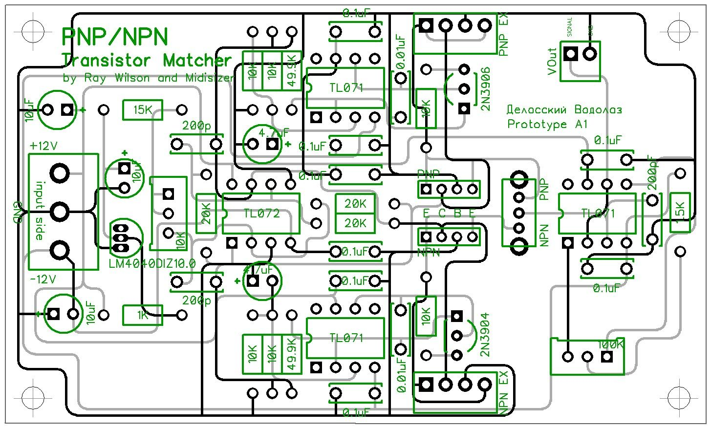 Midisizer Npn Pnp Transistor Matcher Pcb Based On Original Idea Of Diagram Ray Wilson Mfos