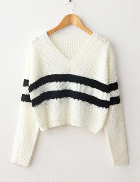 4d230f1c7 Otoño 2016 rayas de punto Suéter corto Pullover mujeres moda V Cuello de  Manga larga Punto casual Tops Estilo Coreano nueva T58305