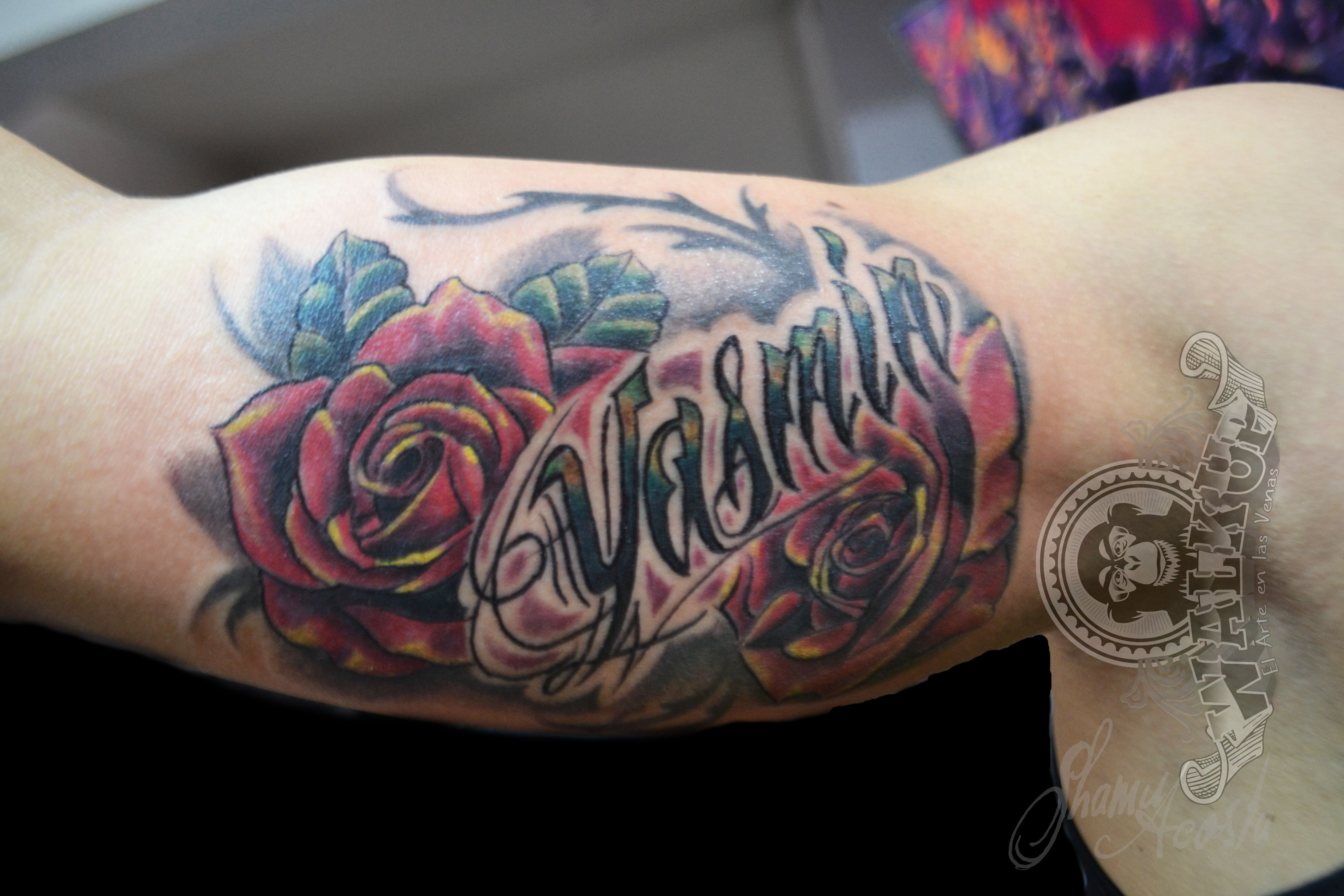lettering rosa (pink lettering) tattoo