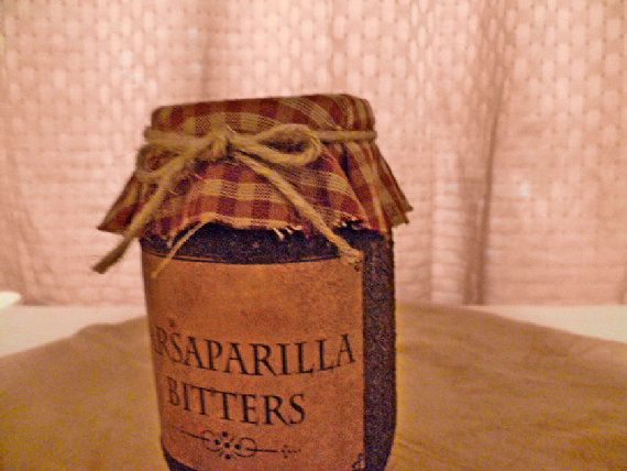 Grungy Jar with Primitive Label by OldeTymePrimitives on Etsy, $6.95