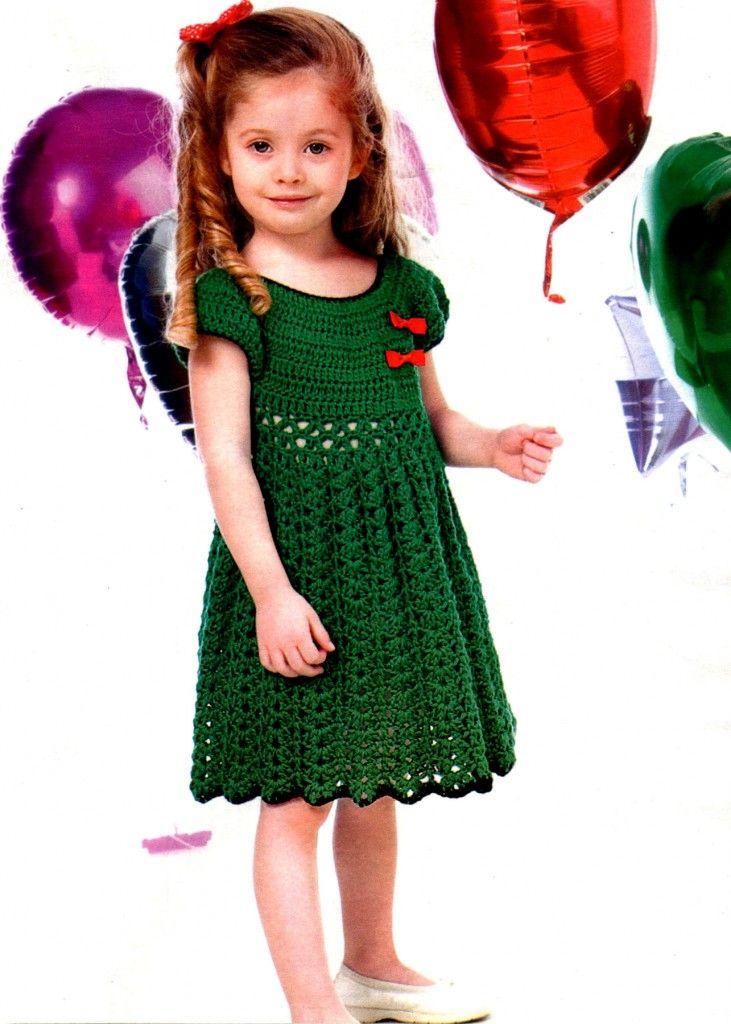 b6294e477e0bc8f Летнее платье для девочки 6-7 лет крючком | Вязание для детей ...