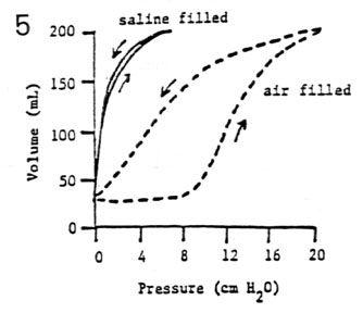Saline ventilated lung- better compliance, no air-liquid