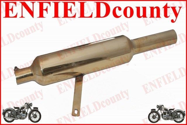 Royal Enfield Black Powder Coated 500cc Short Exhaust Silencer /& Bracket