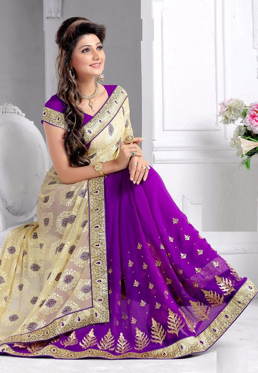9c125d5e0d11a5 Buy Off White and Purple Faux Georgette Brasso Saree with Blouse online