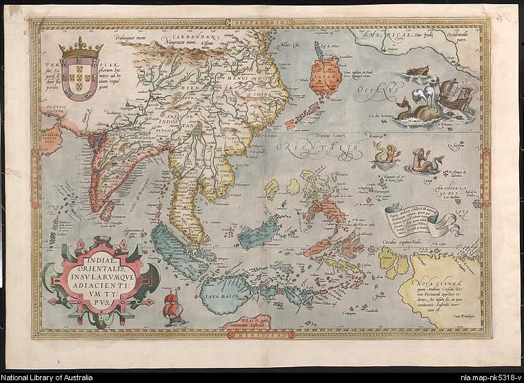 Indiae Orientalis Hand Colored Copper Engraving By Abraham