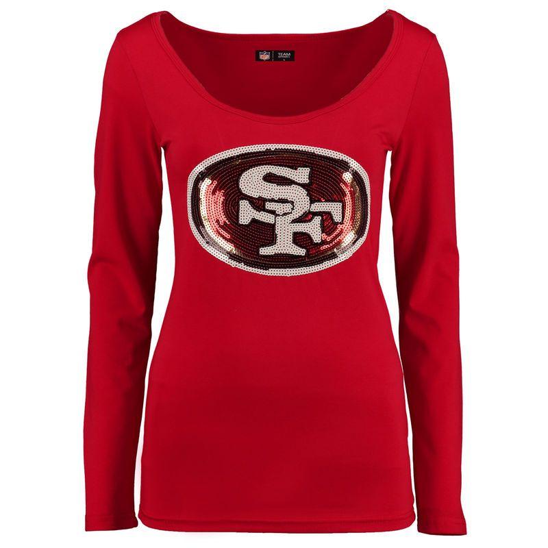 1a7d117b9 San Francisco 49ers Cuce Women s The Underdog Scoop Sequin Logo Long Sleeve  T-Shirt - Scarlet