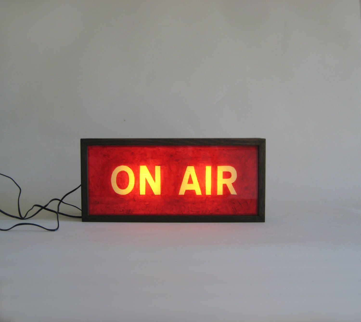 red on air sign wooden light box lighted hand painted signs light