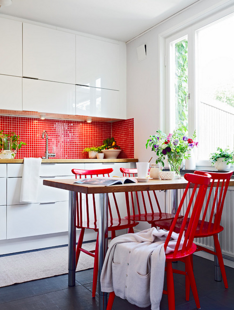 White Kitchen Small Red Square Tile Back Splash Cabinets To The