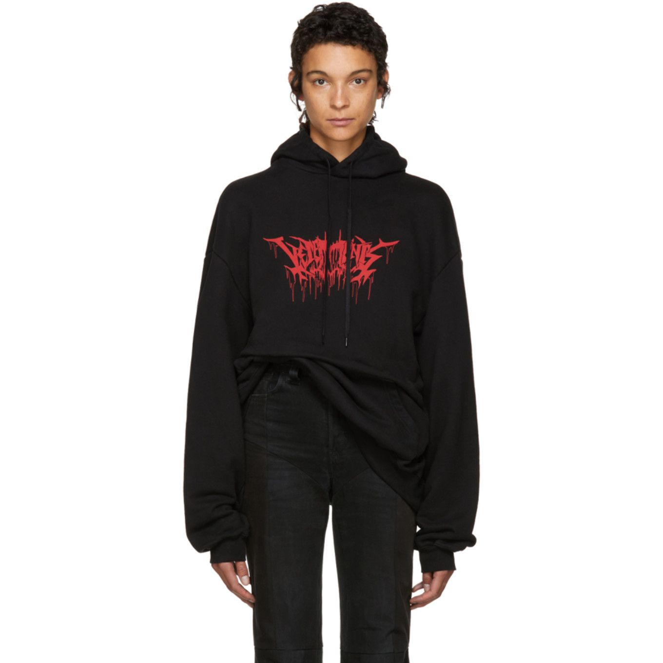 853e64f8a6 Vetements - Black Oversized Metal Logo Hoodie