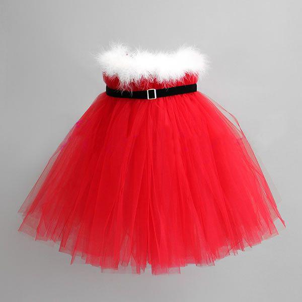 Christmas baby girl wedding dress veil feathers plush new dress sweet princess dress party red girl dress