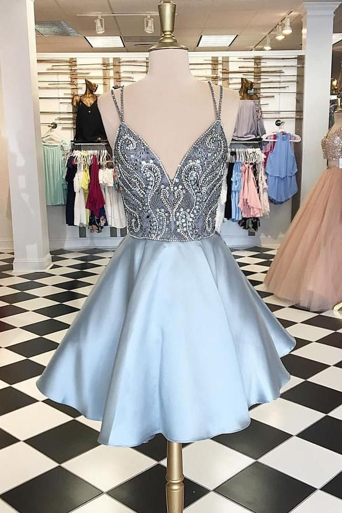 Light blue v neck beads short prom dress blue homecoming dress,spaghetti straps Evening Gown,Mini Party Prom Dresses