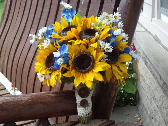 Sunflower Bridal Bouquet With Texas Bluebonnets Country Wedding