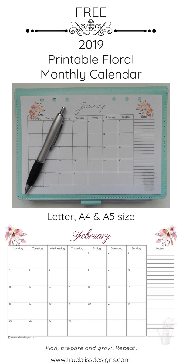 2019 Floral Printable Monthly Calendar Crafts Pinterest