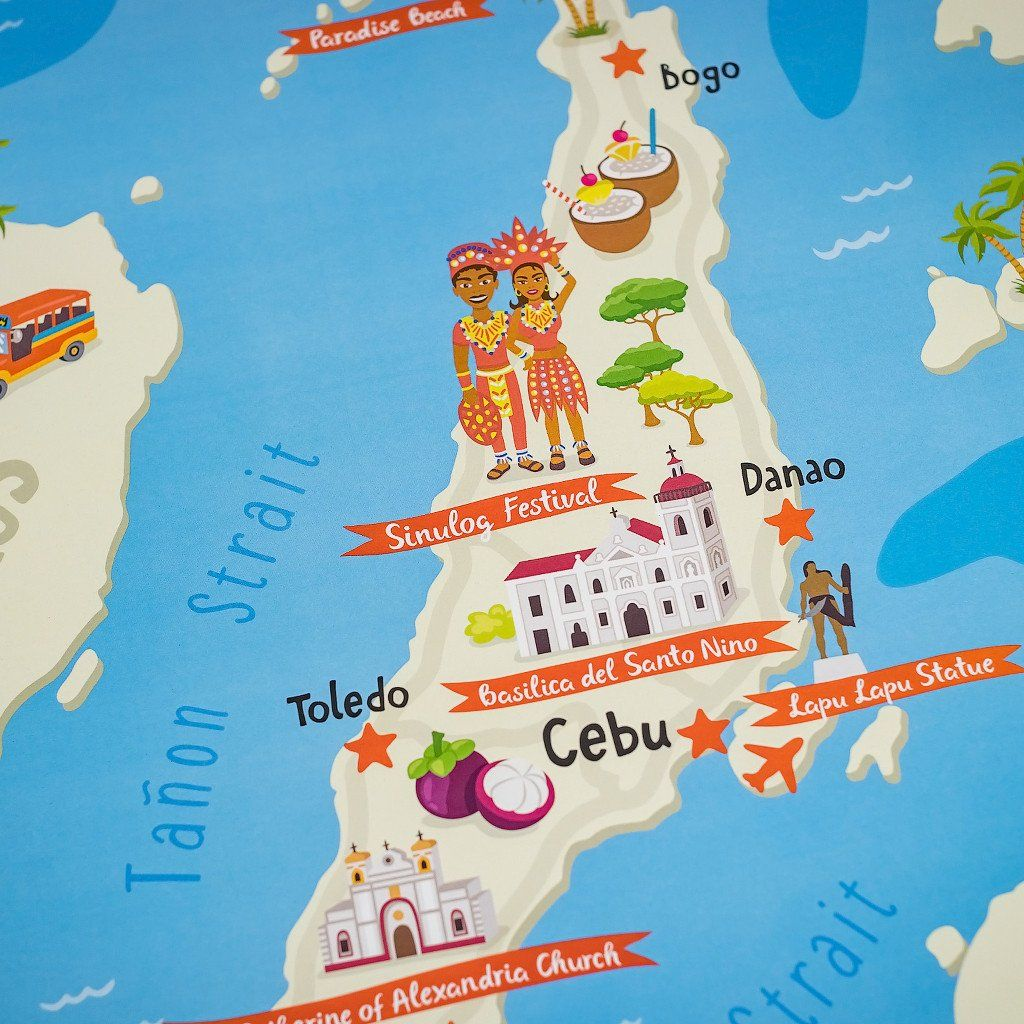 Cebu illustrated map poster illustrated maps cebu and poster wall cebu illustrated map poster gumiabroncs Gallery
