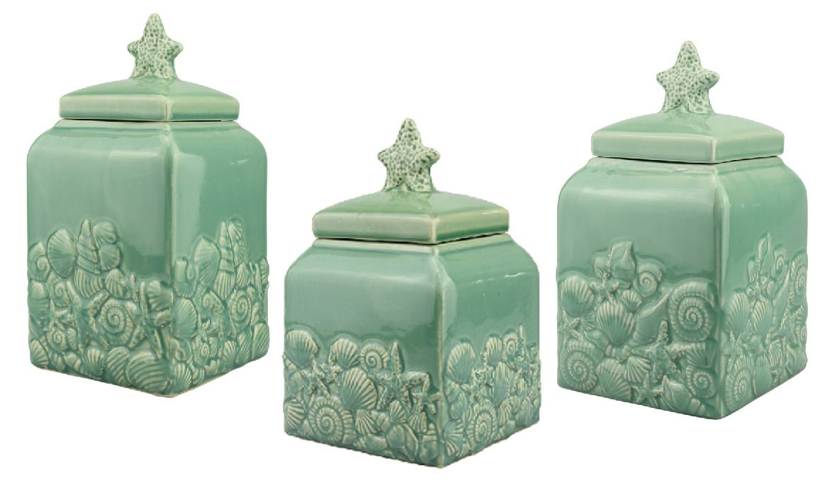 themed kitchen canisters decorative canister sets beach seashell ceramic teal