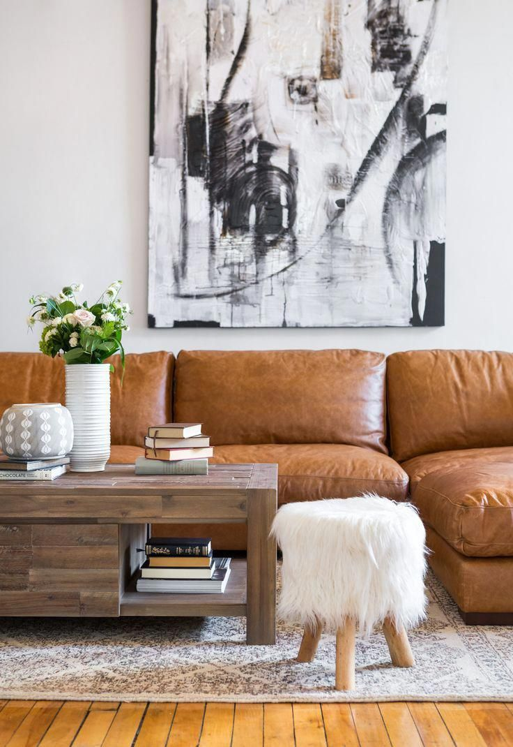 Brown Leather Couch Living Room Decor Apartment Therapy