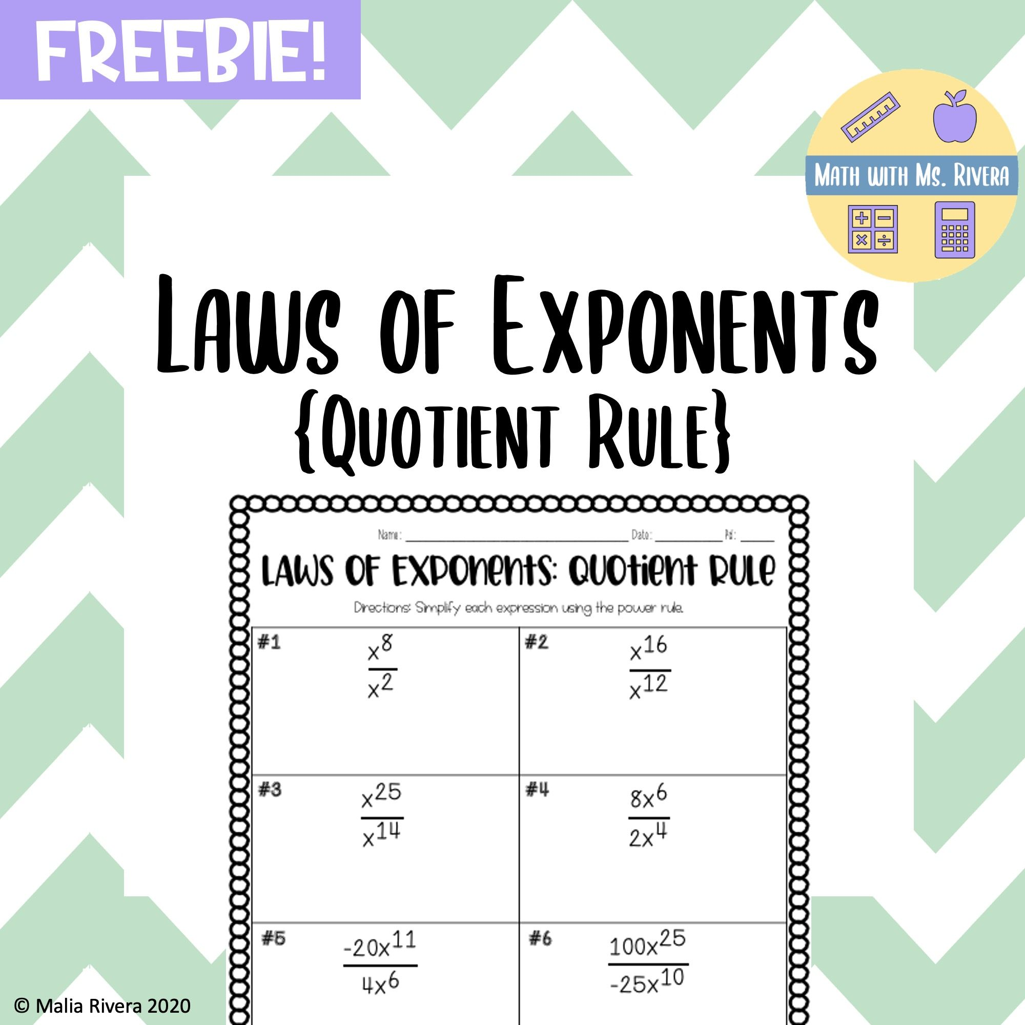 Laws Of Exponents Quotient Rule Worksheet Freebie In 2020 Quotient Rule Power Rule Negative Exponents