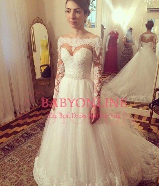 vestidos de novia corte princesa con manga larga - Buscar con Google ...