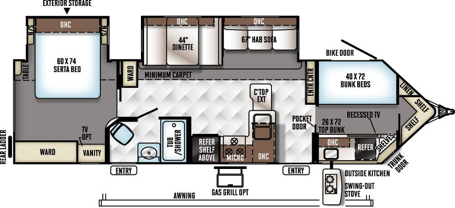 I love this floor plan!! Rockwood Windjammer Travel