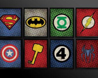 Set of 4 Superhero Kids Wall Art Decor Nursery Superman Batman Robin Comic  Book Superheroes Set