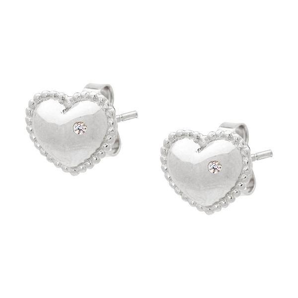 Silver Rhodium Plated Puff Heart Stud Earrings Cz Encrusted Heart Earrings Studs Stud Earrings Sterling Silver Earrings Studs