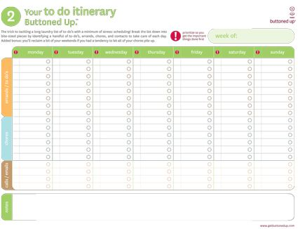 Set of 2 categorized planners for breaking a weekly todo list – Weekly to Do List Template