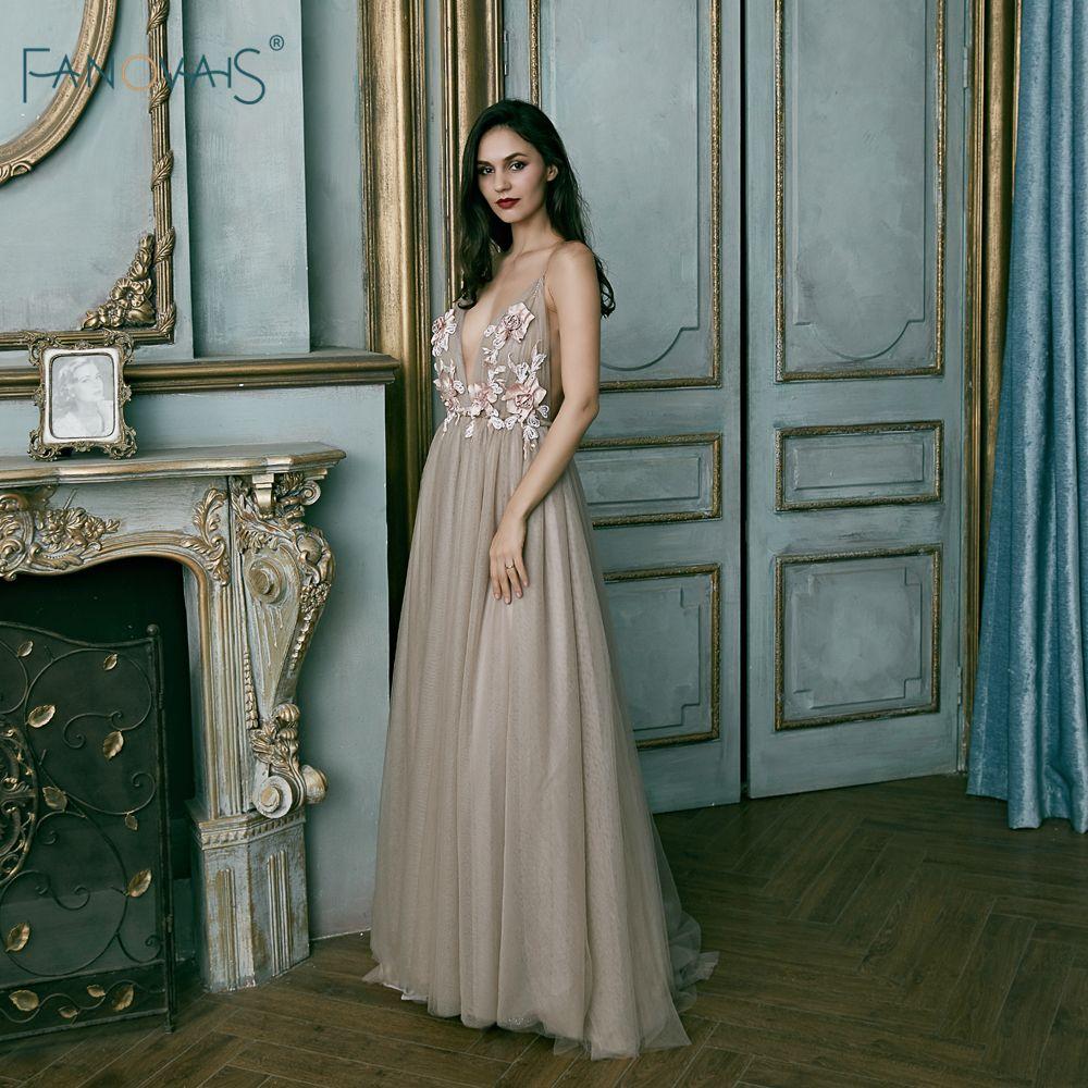 Fashion evening dresses long aline tulle vneck prom dresses