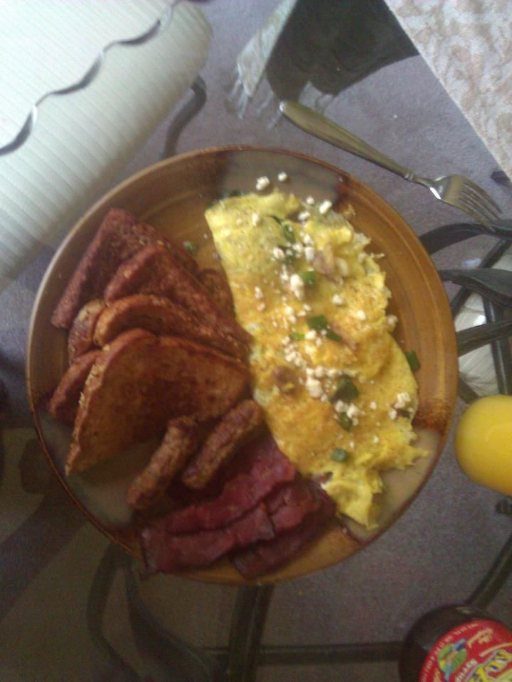 spinach & feta omelet with French toast, turkey bacon & turkey  sausage