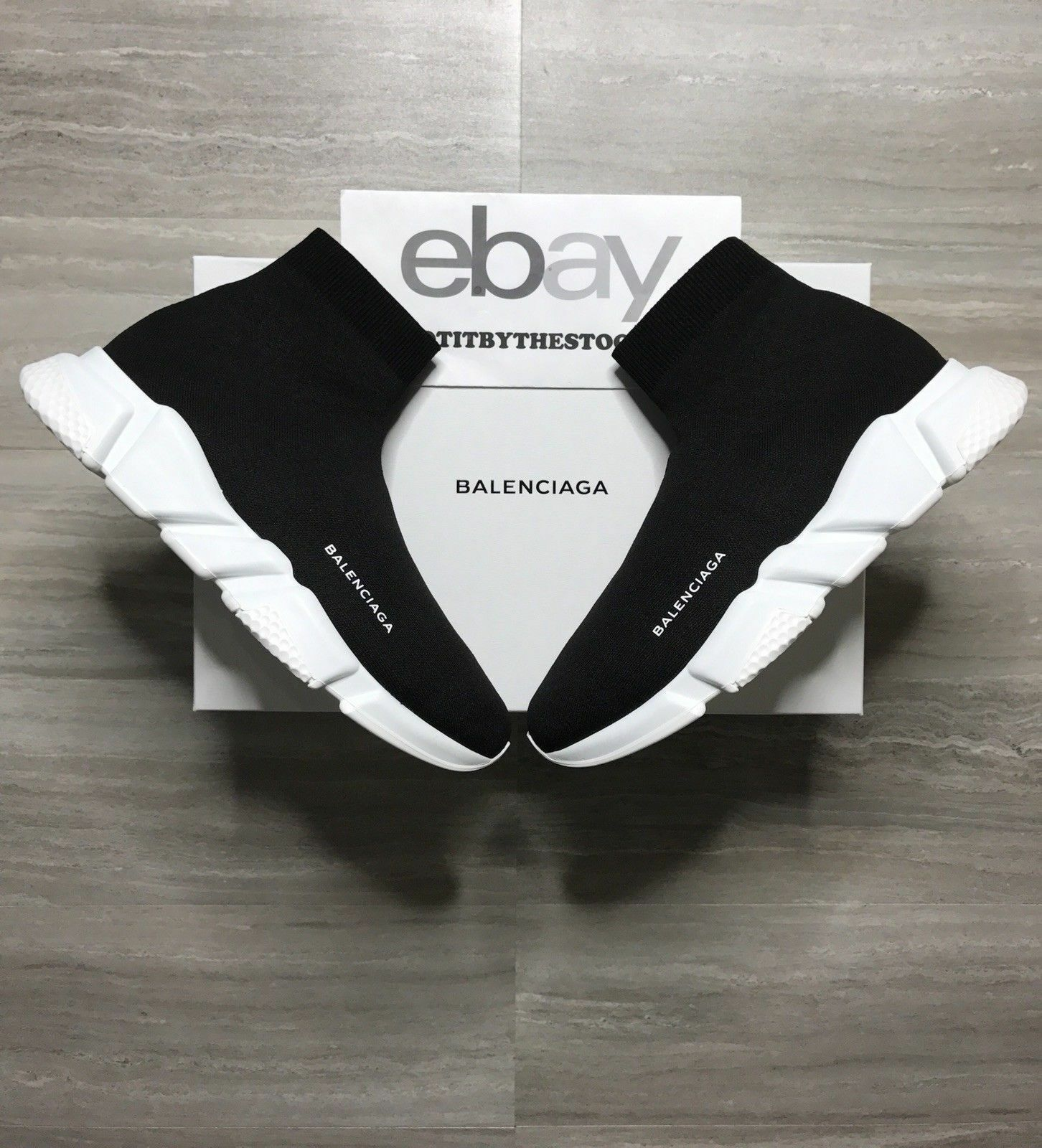 BALENCIAGA SPEED TRAINER BLACK WHITE OG VETEMENTS eBay