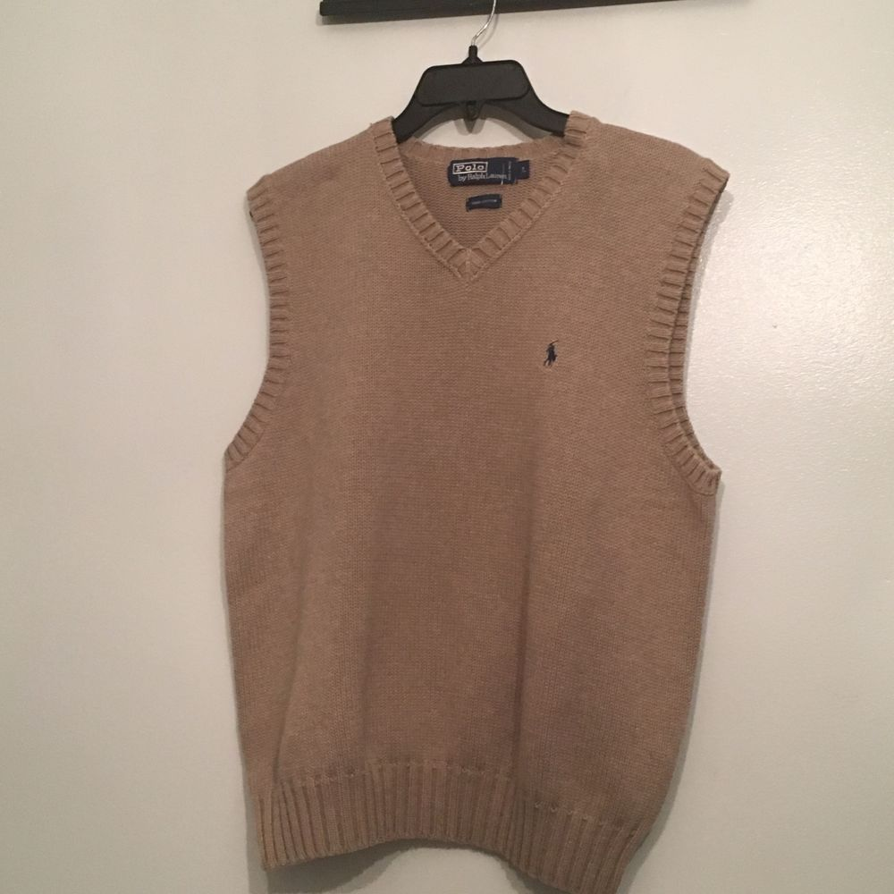 Polo Ralph Lauren Mens large Tan Sweater Vest Blue Pony ...