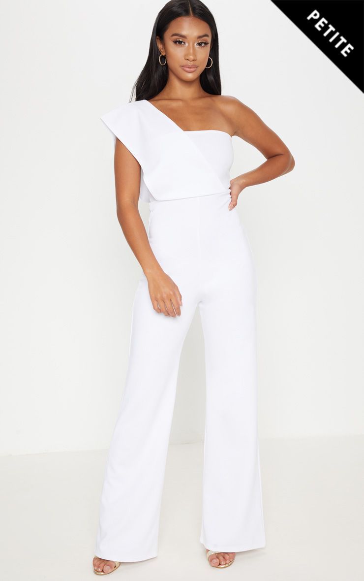 ab62aca6fa1 Petite White Drape One Shoulder Jumpsuit. Head online and shop this  season s range of petite at PrettyLittleThing. Express delivery   student  discount ...