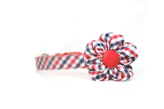 Dog Cat Flower Collar Accessory Red White Blue Gingham by dusidog