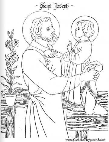 Beautiful Saint Joseph And Child Jesus Coloring Page