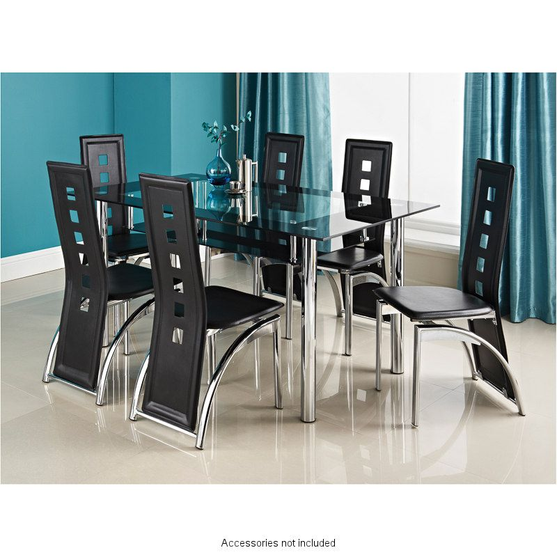This Stylish Phoenix Seven Piece Contemporary Chrome And Glass Table With Black Faux Leather Chairs Will Create A Modern Feel To Your Dining Area