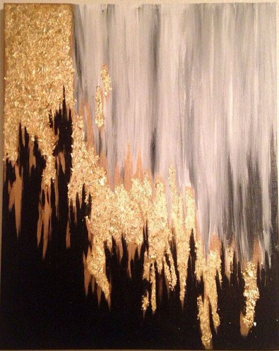 Gold Leaf Grey And Black Abstract Painting 16 X 20 By